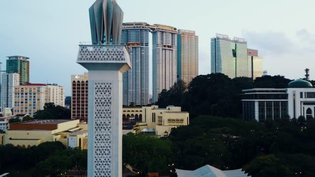 kuala lumpur skyline with menara tower - menara kuala lumpur tower stock videos and b-roll footage