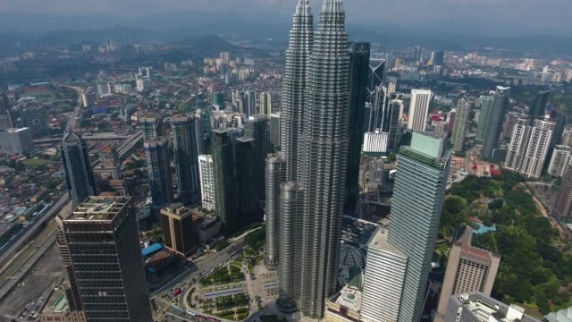 kuala lumpur skyscrapers from adove view - petronas towers stock videos and b-roll footage