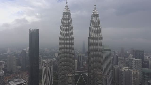 kuala lumpur skyscrapers from adove view - menara kuala lumpur tower stock videos and b-roll footage