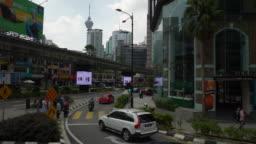 kuala lumpur sunny day road trip downtown street view slow motion pov panorama 4k malaysia