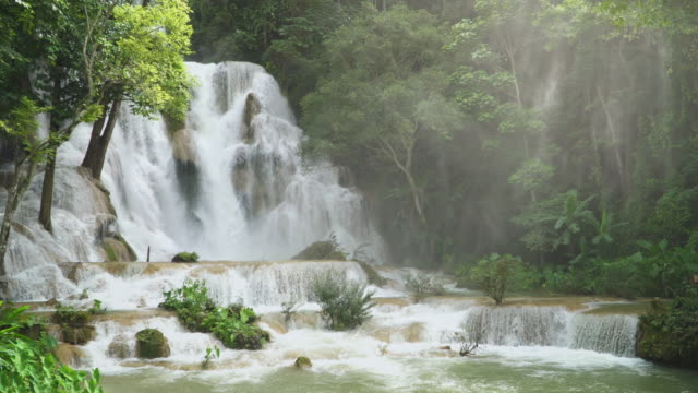 4K, Kuang Si waterfall in Luang Prabang, Laos.