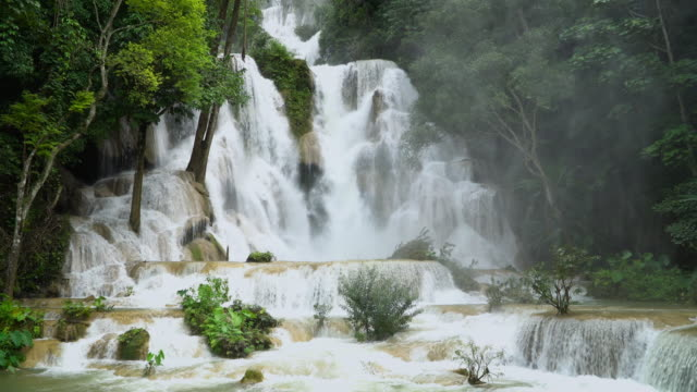 4k, kuang si waterfall in luang prabang, laos. - tree area stock videos & royalty-free footage