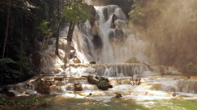 kuang si waterfall, luang prabang, laos - lagoon stock videos & royalty-free footage