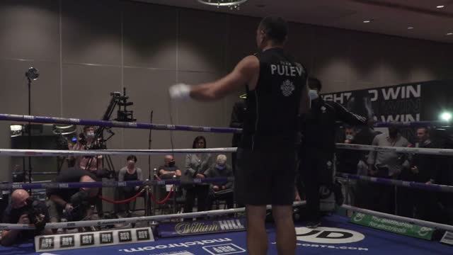kubrat pulev's live work-out ahead of saturday's world heavyweight fight with anthony joshua at wembley's sse arena - wembley arena stock videos & royalty-free footage