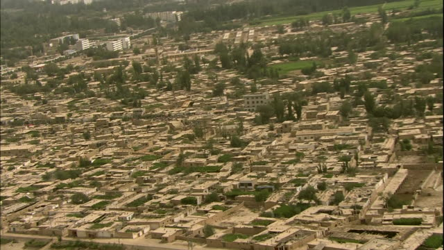 aerial shot oasis old city town made with adobe - adobe material stock videos and b-roll footage