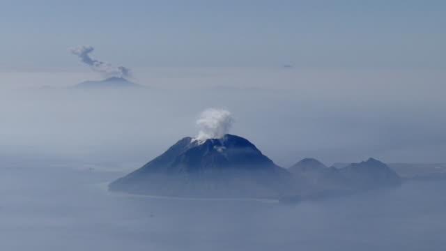 aerial, kuchinoerabujima is beyond iojima is, kagoshima, japan - philippine sea stock videos & royalty-free footage