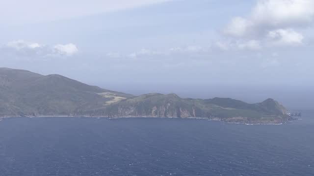 aerial, kuchinoerabujima island, kagoshima, japan - overcast stock videos & royalty-free footage