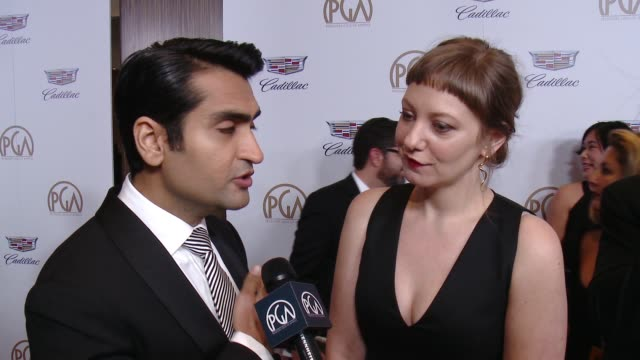 INTERVIEW Kumail Nanjiani and Emily V Gordon at 29th Annual Producers Guild Awards presented by Cadillac at The Beverly Hilton Hotel on January 20...