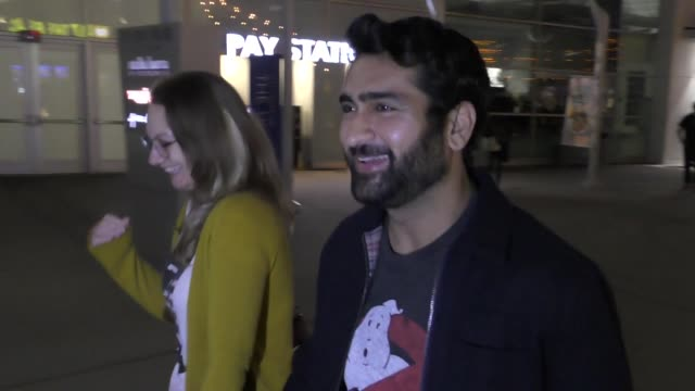 interview kumail nanjiani emily v gordon talks about ghostbusters outside the midsommar premiere at the arclight theatre in hollywood in celebrity... - celebrity sightings stock videos & royalty-free footage