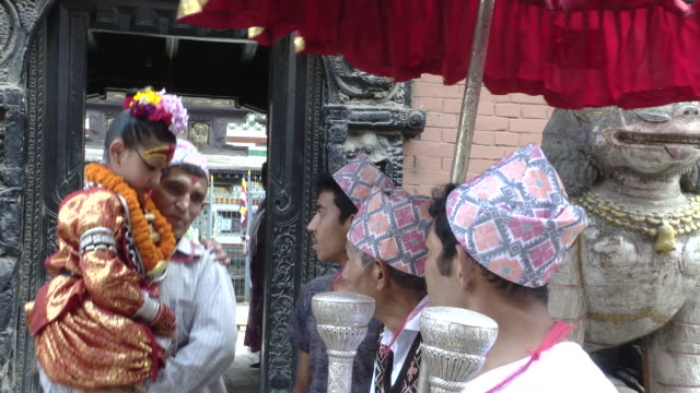 kumari is the hindu tradition of worshiping a young girl as the manifestation of a devi or goddess - goddess stock videos and b-roll footage