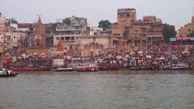 kumbh mela pilgrims at munshi ghat , varanasi - pilgrim stock videos & royalty-free footage