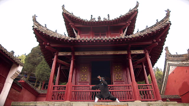 kung fu master wu in front of taosit temple on the wudang shan holy mountain. - カンフー点の映像素材/bロール