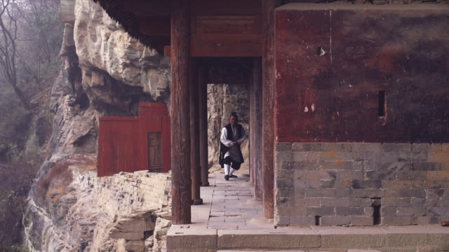 kung fu master wu training in ancient ruins in the wudang shan holy mountains. - カンフー点の映像素材/bロール