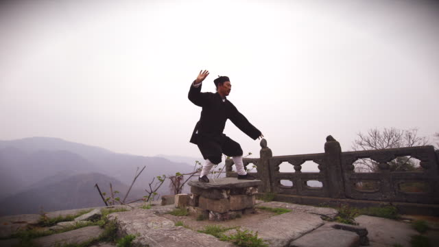 vídeos de stock e filmes b-roll de kung fu master wu training on ancient ruins in the holy wudangshan mountains - artes marciais