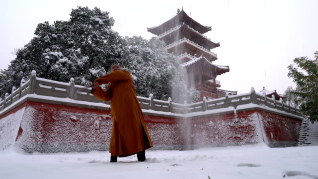 kung fu monk warrior in shaolin temple china - buddhism stock videos & royalty-free footage