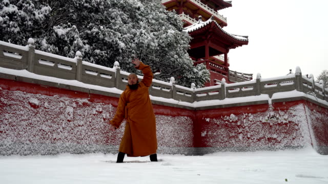kung fu monk warrior in shaolin temple china - martial arts stock videos & royalty-free footage