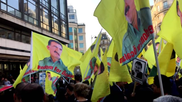 Kurd people from France protesting against Abdullah Öcalan imprisonment They ask to release him Protest took place at AFP news headquarters in Paris...