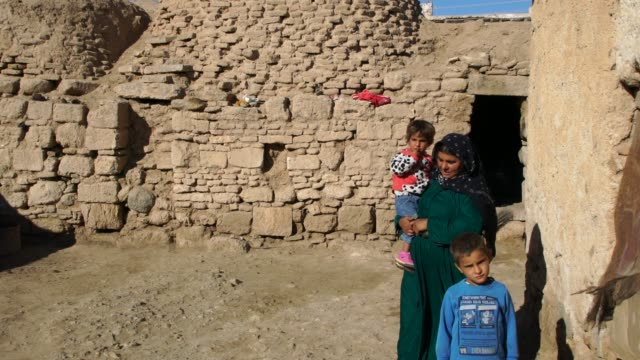 stockvideo's en b-roll-footage met kurdish family posing in front of their traditional mud brick houses in harran, turkey - geruïneerd