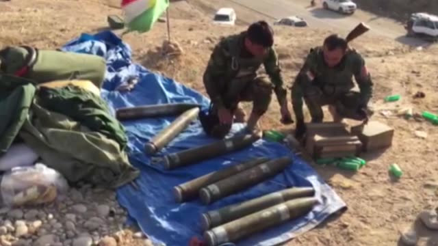 Kurdish Peshmerga forces fire Katyusha rockets on Daesh targets as part of an operation to liberate Mosul from Daesh terrorist organization on...
