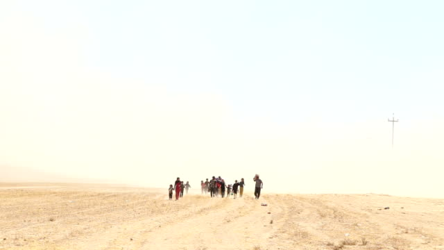 vídeos de stock, filmes e b-roll de kurdish photojournalist meets yazidi refugees travelling from mount sinjar to syria long shot yazidi refugees on foot along towards through desert... - curdo