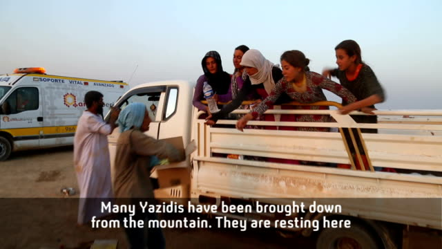 kurdish photojournalist meets yazidi refugees travelling from mount sinjar to syria trucks parked in desert with yazidi refugees along ypg fighters... - photojournalist stock videos & royalty-free footage