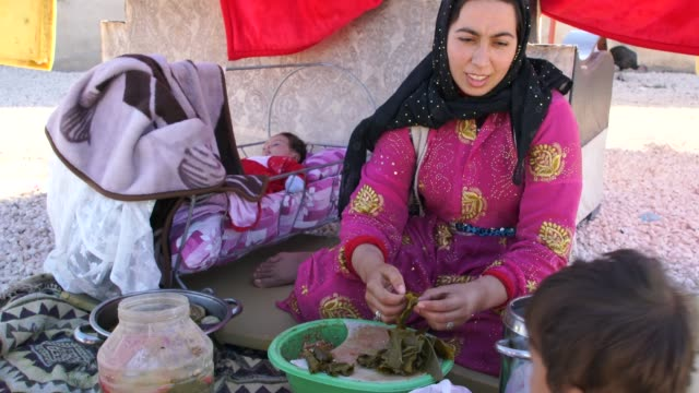 vídeos de stock e filmes b-roll de kurdish woman with her kids around cooking traditional food on open fire in front of her traditional mud brick house in harran, turkey - oriente médio