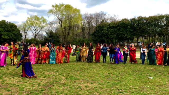 kurdish women dance during nowruz celebrations on march 24 2018 in tokyo japan nowruz meaning 'new day' and marking the first day of spring is widely... - etnia medio orientale video stock e b–roll