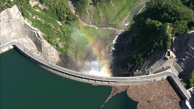 aerial, kurobe dam, toyama, japan - hydroelectric power stock videos & royalty-free footage