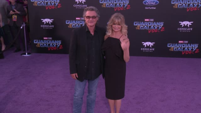 """kurt russell and goldie hawn at the """"guardians of the galaxy vol. 2"""" los angeles premiere at dolby theatre on april 19, 2017 in hollywood, california. - kurt russell stock videos & royalty-free footage"""