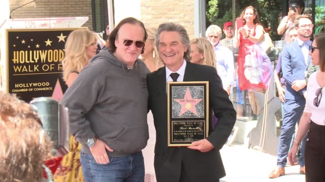 kurt russell and quentin tarantino at the walk of fame to honor goldie hawn and kurt russell with special double star ceremony on may 4, 2017 in... - kurt russell stock videos & royalty-free footage