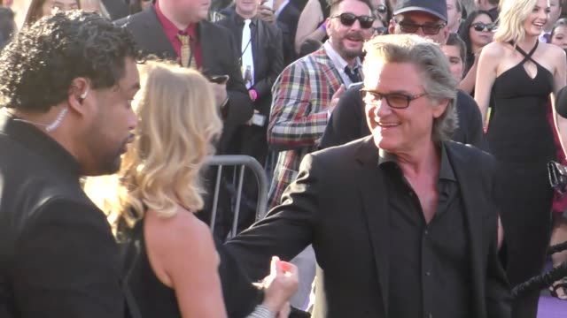 kurt russell & goldie hawn arriving to the guardians of the galaxy 2 premiere at dolby theatre in hollywood in celebrity sightings in los angeles, - the dolby theatre stock videos & royalty-free footage