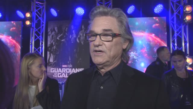 kurt russell on seeing the first film, vol 1, the challenge of coming in, not to much on this characters face, creating an impression for the viewer,... - kurt russell stock videos & royalty-free footage