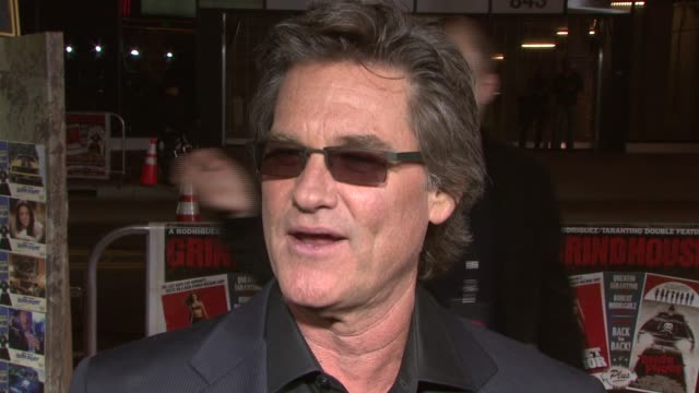 kurt russell on the way he spent his birthday at the 'grindhouse' los angeles premiere at the orpheum theater in los angeles, california on march 26,... - kurt russell stock videos & royalty-free footage