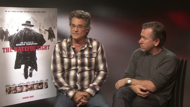 interview kurt russell tim roth on quentin tarantino's screenplay writing it with kurt russell in mind his characters at the hateful eight junket on... - tim roth stock videos and b-roll footage