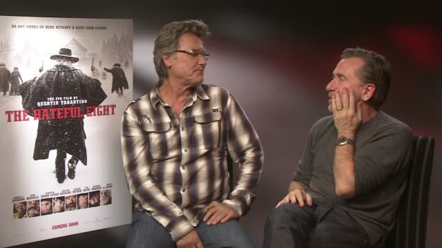 interview kurt russell tim roth on tim roth accent being english his character at the hateful eight junket on december 10 2015 in london england - tim roth stock videos and b-roll footage