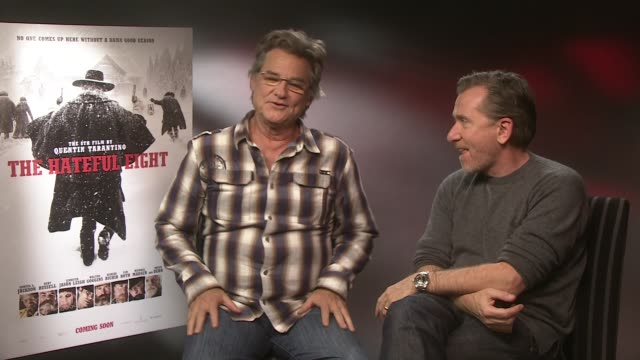 interview kurt russell tim roth on working hard playing hard it is not work working with quentin tarantino at the hateful eight junket on december 10... - tim roth stock videos and b-roll footage