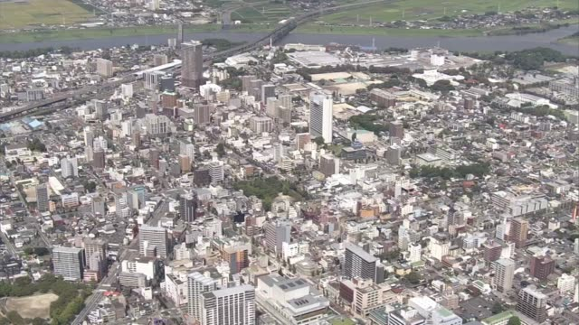 aerial, kurume city, fukuoka, japan - kyushu railway stock videos & royalty-free footage