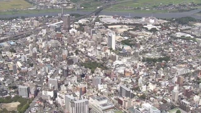 aerial, kurume city, fukuoka, japan - kyushu railway stock videos and b-roll footage