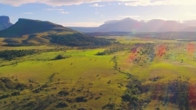 kurun, kusary and kurawaik tepuis and the carrao river, canaima, venezuela - panoramic stock videos & royalty-free footage