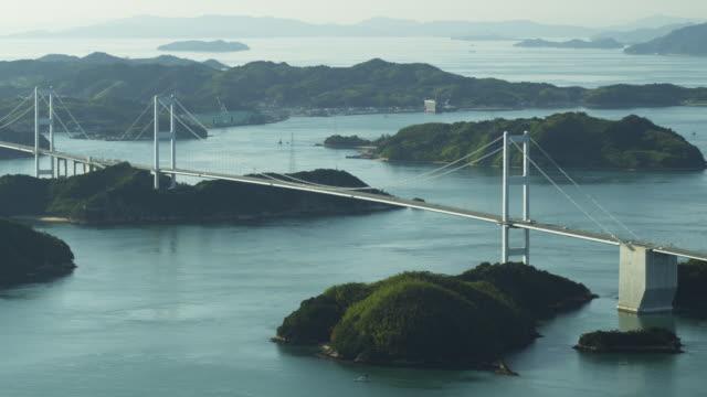 kurushima kaikyo bridge - satoyama scenery stock videos & royalty-free footage