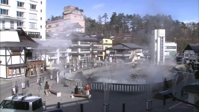 kusatsu hot spring resort, japan - hot spring stock videos & royalty-free footage