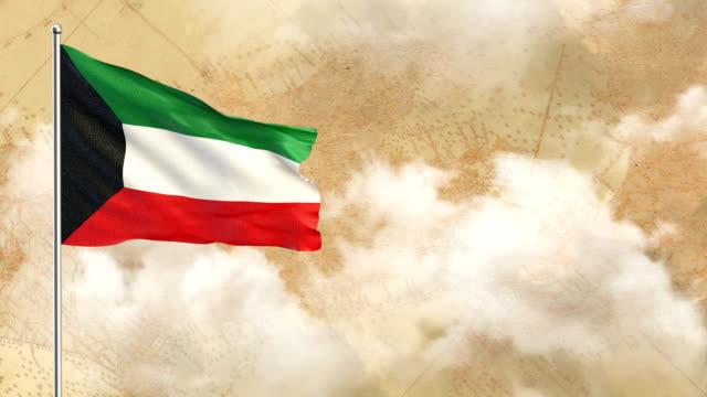 Kuwait 3D Flagge auf historischem Hintergrund dann blauer Himmelshintergrund