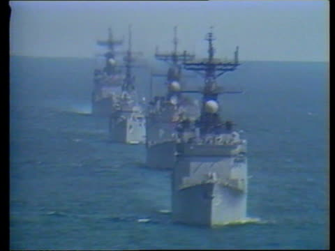 Kuwait / Iraq oil dispute ITN US warships in the Gulf region LIB/LIB/LIB/LIB MIX