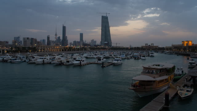 kuwait, kuwait city, dar al-awadi building and minaret by sharq souk - kuwait stock videos and b-roll footage