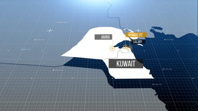 Kuwait-Karte mit Etikett dann mit Etikett
