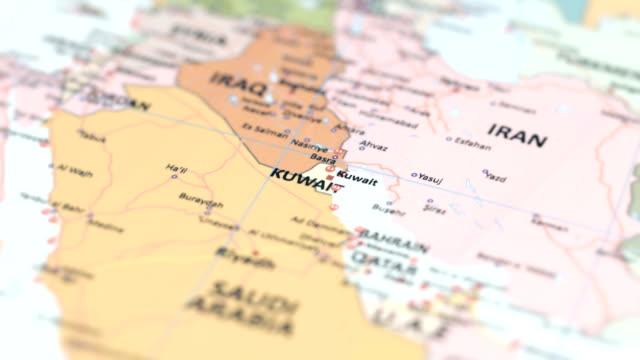asia kuwait on world map - basra stock videos & royalty-free footage