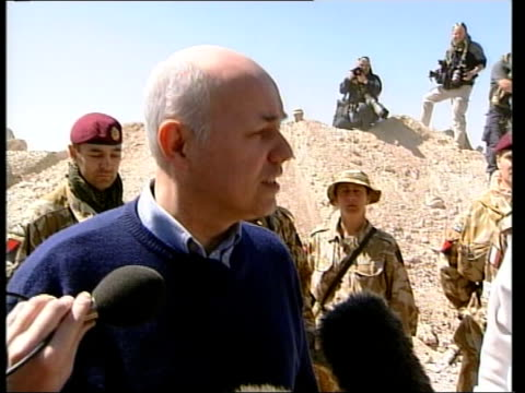 Kuwait troop buildup/Iain Duncan Smith visit Iain Duncan Smith MP speaking to press SOT Don't believe British people are against action they just...