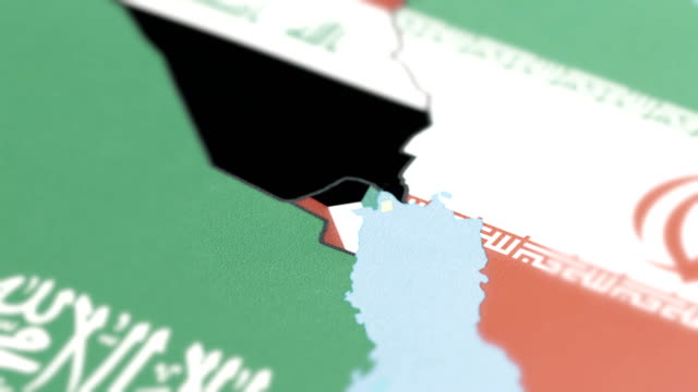 kuwait with national flag on world map - basra stock videos & royalty-free footage