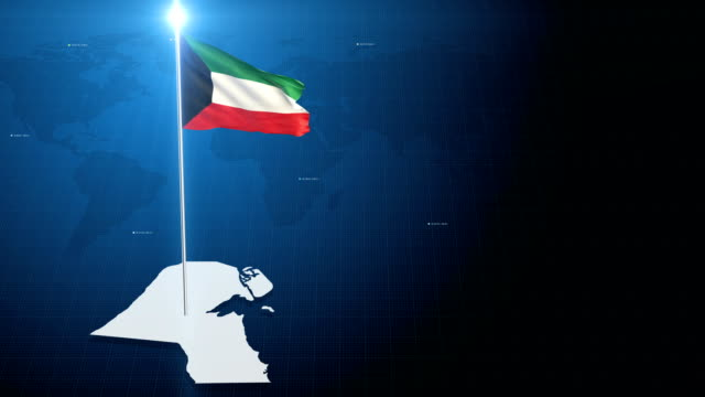 Kuwaitischer Flagge mit Karte + green-Screen-Hintergrund