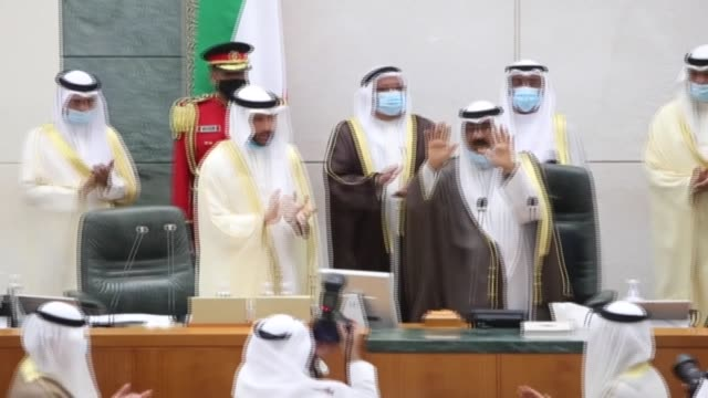 kuwait's new crown prince sheikh meshal alahmad aljaber alsabah takes the constitutional oath before the kuwaiti national assembly which unanimously... - crown prince stock videos & royalty-free footage
